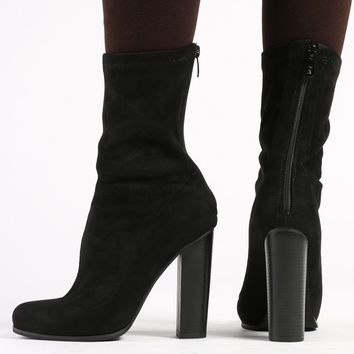 Florence Ankle Boots in Black Faux Suede