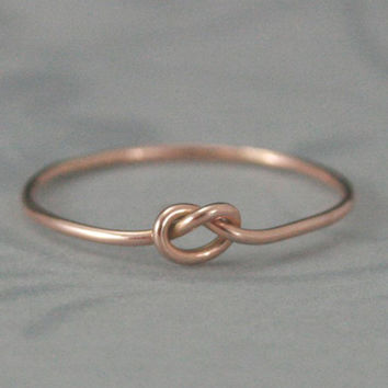 Solid 14K Gold Forget me Knot Love Knot Ring--Handmade Tie the Knot Ring--YOUR Choice of 14K Rose, White or Yellow Gold--Bridesmaids Gift