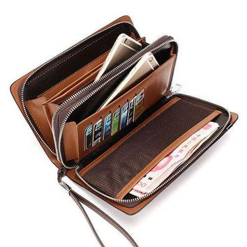 Men Business PU Leather Portable Bag Zipper Wallet Phone Bags For iPhone Samsung Xiaomi Huawei