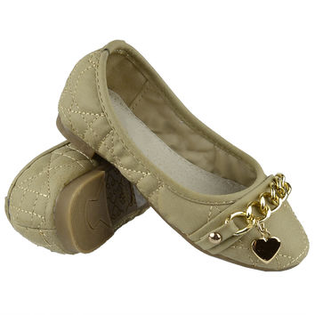 Kids Ballet Flats Quilted Gold Heart Accent Casual Slip On Shoes Beige SZ