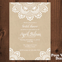 Printable Rustic Doily Lace Bridal Shower Hens by PourVousDesigns