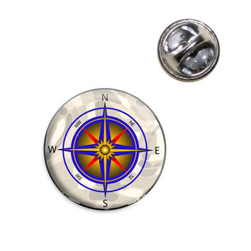 Compass Nautical North South East West Lapel Pin