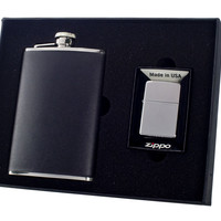Visol Ano 8oz Flask and Zippo Lighter Gift Set