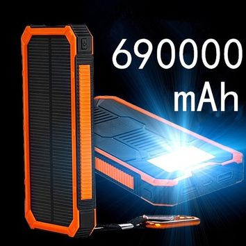 Ultra-thin 690,000mAh  Polymer  Outdoor Emergency Camping LED Portable Solar Charger