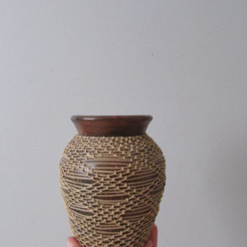studio pottery woven geometric flower pot // spring garden vase