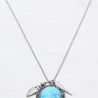AEO Women's Turquoise Charm Necklace (Silver)