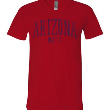 Official NCAA Venley University of Arizona Wildcats U of A Wilber Wildcat BEAR DOWN! Curve No1 Unisex V-Neck T-Shirt - 2