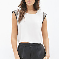 LOVE 21 Boxy Beaded Crepe Top Cream/Black