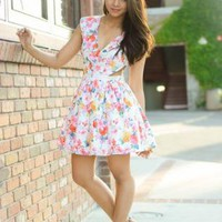 White Floral V Neck Dress with Waist Cutout Detail