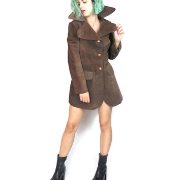 70s Fitted Brown Suede Leather Jacket Cropped Oversize Collar Boho Rocker Steampunk FOXY Leather Coat (XS/S)