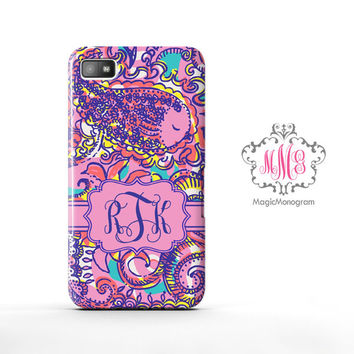 Summer Sea and Bea Seen Lilly Pulitzer Monogram Blackberry Case Z10, BB Q10 Case