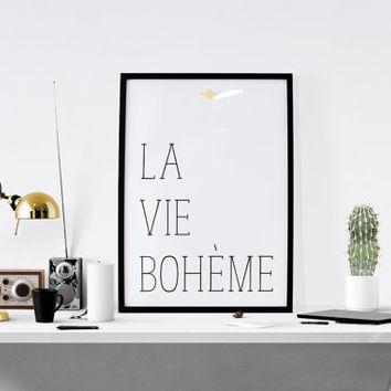 "Fashion Wall Art,Printable Poster,""La vie boheme"" Quote Print,French Quotes Fashion Art Wall Decor Motivational Poster Instant download art"