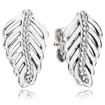 Authentic Pandora Jewelry - Shimmering Feathers Stud Earrings