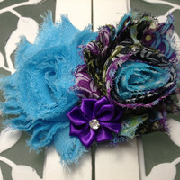 Turquoise and purple hair bow or headband for little girls and babies - holiday hair bows -shabby hair clip -