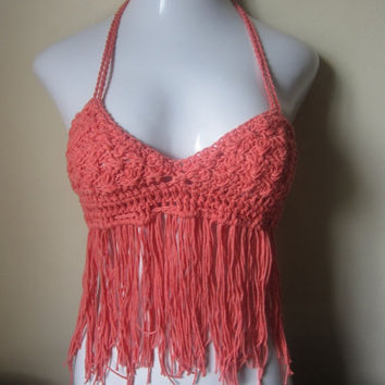 ON SALE Festival Fringe halter top, Coral  bikini top, gypsy, boho bohemian, summer top, 70's top