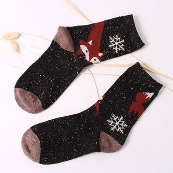 Warm Socks Kawaii Fox Wool Blend Winter Casual Socks Fuuny Warm Women Socks Meias Mulheres#A12