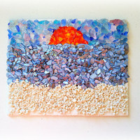 Glass Mosaic - Sand - Shells - Gravel - Beach Scene - Nautical Canvas
