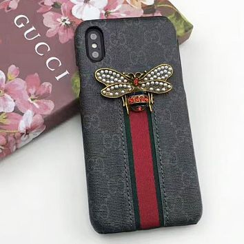 GUCCI  Fashion New Bee Pearl Stripe More Letter Leather Women Men Protective Cover Phone Case