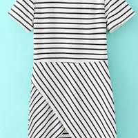 Black and White Short Sleeve Striped Wrap Mini Dress