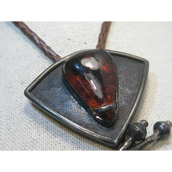 """Vintage Sterling Silver Southwestern Amber Bolo Tie, 36"""" Brown Braided Tie,  signed Elias - Sterling Caps"""