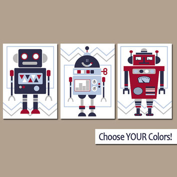 ROBOT Wall Art, CANVAS or Prints, Outer Space Boy Nursery Pictures, Big Boy Bedroom Decor, Space Aliens, You Choose Colors Set of 3