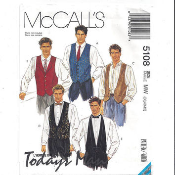 McCall's 5108 Pattern for Men's Lined Vest, Necktie, Bow Tie, From 1990, FACTORY FOLDED, UNCUT, Vintage Pattern, Home Sewing Pattern,