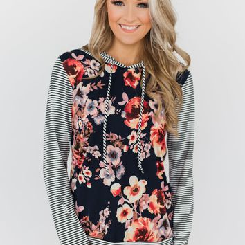 What A Girl Wants Floral & Striped Hoodie- Navy