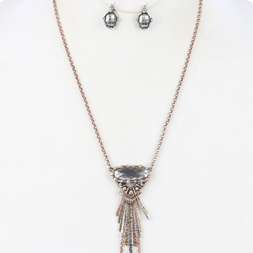 Clear Faceted Lucite Stone Aged Finish Metal Necklace And Earring Set