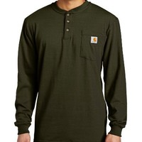 Carhartt Men's Workwear Pocket Long Sleeve Henley Midweight Jersey Original Fit K128,Olive  (Closeout),X-Large