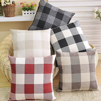 Pastoral Style Stripes Plaid Cars Cushion Sofa Linen Print Cotton Linen Cushion Cover [6283475590]