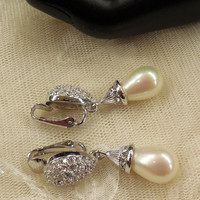 Gorgeous Christian Dior Pave Set Crystal Rhinestones and Faux Pearl Dangle Earrings
