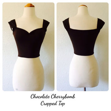 Chocolate Cherrybomb CROPPED Top, Cocoa Brown PIN UP shirt, Mod Brown Capped Sleeve Top, Off the Shoulder Summer Shirt