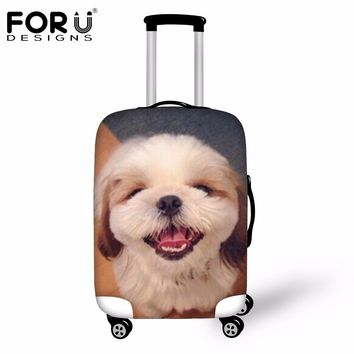 FORUDESIGNS 2018 Travel Luggage Protective Cover Cute 3D Charles Dog Animal Suitcase Cover S/M/L Apply For 18-30 Inch Trunk Case