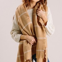 Leah Camel Plaid Scarf