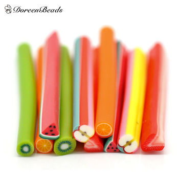 "Mixed Fruit Polymer Clay Nail Art Canes Decoration 5x0.5cm(2""x1/4""), sold per packet of 50 (B16222)"