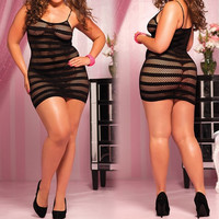 Women Lady Lingerie Fishnet Crotch Nightwear Underwear Nightdress Babydoll Sexy D_L = 1712966852