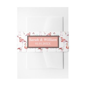 Pink Elegant Flamingo watercolor painting pattern Invitation Belly Band