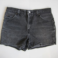 Vintage 80s faded black jean shorts. high waisted LEVIS shorts.