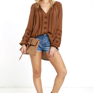 Amuse Society Caprice Brown Embroidered Top