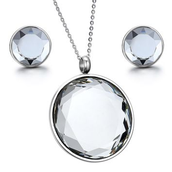 Ladies Mirror Polishing Round Crystal Pendant Necklace With Chain