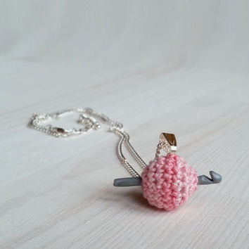 Jewelry pendant: tiny ball of yarn with mini polymer clay hook, gift for crocheter