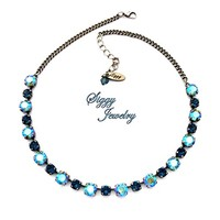 Swarovski® Crystal Necklace, 8mm Erinite Shimmer, 6mm Montana Blue, Antique Silver Finish, Peacock Sparkle, Gift Packaged