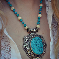 TURQUOISE TALISMAN /// Boho Tribal Native Inspired /// Handcrafted Turquoise Layering Necklace
