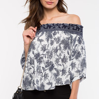 Blue Floral Vibes Off Shoulder Top