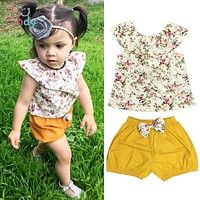 Baby Girl Clothing Set Outfits Floral Shirt Tops Short Sleeve Flower Shorts Pants Clothes Baby Girls