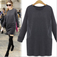 Long-Sleeve Pullover Knitted Dress