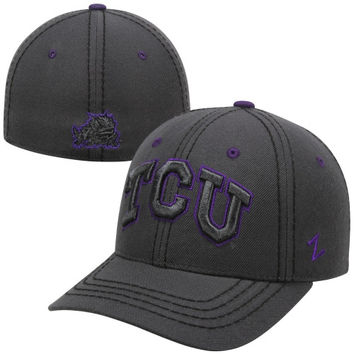 Zephyr TCU Horned Frogs Smoke Fitted Hat - Charcoal