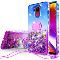 Glitter Phone Case Kickstand Compatible for LG G7 ThinQ, G7 + ThinQ Case,Ring Stand Liquid Floating Quicksand Bling Sparkle Protective Girls Women for LG G7 ThinQ/LM-G710/G7+ ThinQ  - (Blue Gradient)