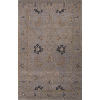 Jaipur Rugs Classic Arts And Crafts Pattern Gray Wool Area Rug PM126 (Rectangle)