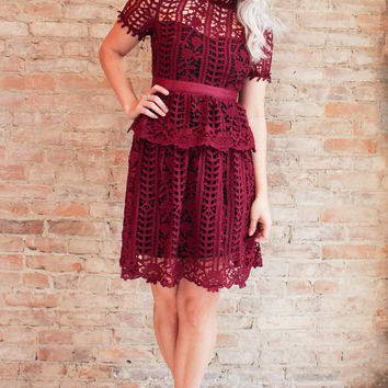 Romina Lace Dress - Burgundy